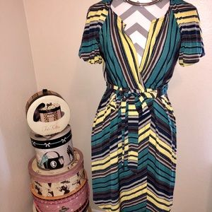 Max & Cleo Green and Yellow Striped Wrap Dress XS